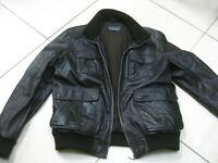 Mens AVIATRIX brown real leather COAT JACKET size XL large 44 46 biker bomber