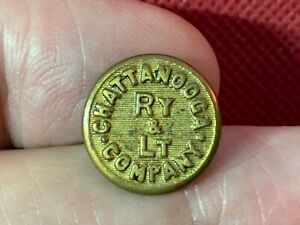 CHATTANOOGA RAILWAY & LIGHT Co. (TN) 15.2mm BRASS BUTTON Extra Quality 1909-1922