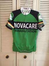 MEN FULL ZIP NOVACARE REHABILITATION S/S CYCLING BIKE ATHLETIC JERSEY SHIRT M