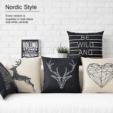 "Black White Nordic Deer Anima Heart Flax Linen Pillow Case Cushion Cover 18""x18"""