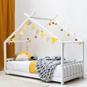 Pine / White Kids Childern Canopy Wooden House Bed Frame 3FT Single Size    BSD