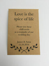 10 x Chilli Seed Wedding Favours - PERSONALISE Eco Friendly -Fun Gift for Guests