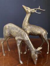 Retro Brass Buck Doe Deer Sculpture Set Vintage Hunter Nature
