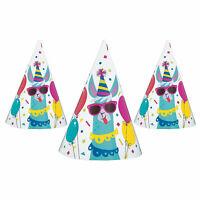 Llama Birthday Cone Party Hats - Party Supplies - 8 Pieces