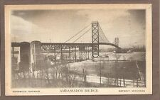VINTAGE POSTCARD 1933 AMBASSADOR BRIDGE DETROIT MICHIGAN