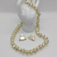 Vintage Fx Pearl Chunky Beaded Necklace Triangle Pierced Earrings VTG Jewelry