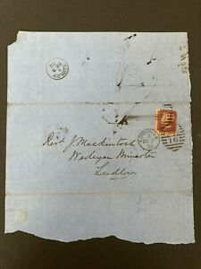 Postal History GB QV 1872 Ludlow CDS Parish Return 1d Red Plate144 Cat £25