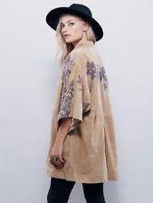 New $850 Free People New Romantics Suede Kyoto Floral Kimono Coat Size Large L