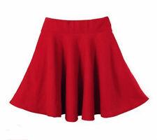women Short Stretch high Waist Plain Skater Flared Pleated Mini Skirt R2
