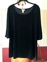 Chico's Travelers size 2 (L) black liquid knit top scoop neck stretch shirt
