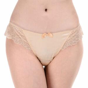 93% Silk 7% Spandex Women's  Sexy Lace Thong Panties Seta mutandine perizoma