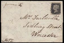 SG2 1841 1d. Black, plate 2, GI, on cover, Honiton to London and Worcester.