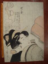 New listing Original 18th Century Kitagawa Utamaro Japanese Woodblock Print Education