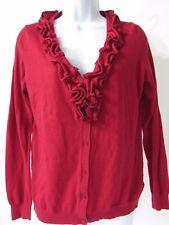 TALBOTS Women's Red Wool Blend Ruffle Button Cardigan Sweater size M