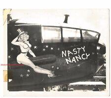 WWII B-25J NASTY NANCY NOSE CONE ART SNAP SHOT-REAL VINTAGE PHOTO-RP