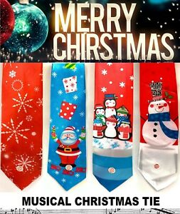 Musical (Jingle Bell) Christmas Ties Mens Novelty Gift Secret Santa Xmas Tie NEW