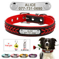 Braided PU Leather Personalized Dog Collar Pet ID Name Tag Engraved Collars XS-L