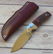 7 INCH BROWNING COCOBOLO WOOD HANDLE HUNTING SKINNING KNIFE WITH LEATHER SHEATH