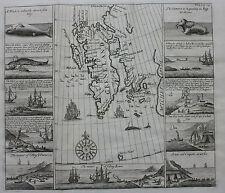 "RARO Antico Mappa Norvegia Spitzberg ""Groenlandia"" caccia alle balene AC, CHURCHILL, 1744"