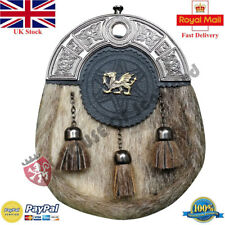 Men's Scottish Full Dress Kilt Sporran Formal Seal Skin Celtic Cantle Antique