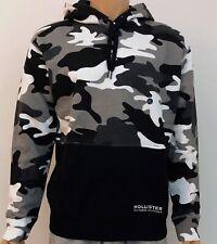 Hollister Mens Camo Colour-Block Hoodie Black Camo Medium M RRP £35