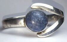 Blue Agate Taxco Sterling Silver wide Cuff Bracelet 925 TL-63 MEXICO 57.7g Hinge