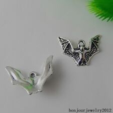 50879 Vintage Silver Alloy Flying Bat Shape Pendants Findings Charms Craft 59pcs