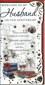 """HUSBAND ON OUR ANNIVERSARY GREETING CARD 9"""" BY 4.5"""" NICE VERSE FREE P+P"""