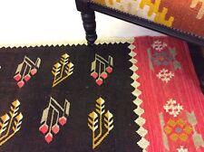 Black Tribal Caucasian Geometric Handmade Natural Fibres Wool Kilim Rugs Runner
