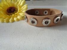 Echtes Leder Chunk Armband hellbraun/beige silber