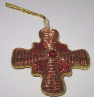Embroidered Beaded Red & Gold Cross Christmas Ornament, 4""