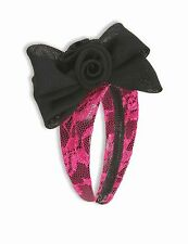 Neon Pink Lace Headband w Bow 80's Madonna Cyndi Lauper Cosplay Adult One Size