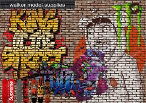 1.12 Scale Graffiti Brick Wall - Vinyl Decal sheets. Action Figure. Design 2