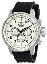 Invicta Men's Watch S1 Rally Chronograph Beige Dial Black Silicone Strap 23810