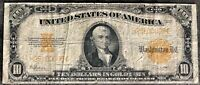 USA 10 Dollar 1922 Gold Certificate Banknote $10 Large Size Selten #21319