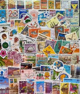 Singapore Stamps 100 Stamps, All Different -Used