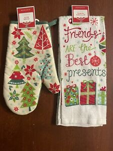 HOLIDAY TIME~Set of 2~Kitchen Towel & Oven Mitt-Friends are the Best Present-NEW