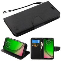 For Motorola Moto G7 PLAY BLACK Leather Wallet Flip Card Stand Phone Case Cover