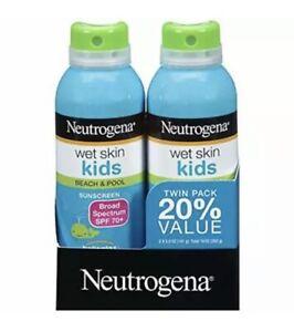 Neutrogena Wet Skin Kids Beach & Pool Sunscreen Spray SPF 70+ 5oz 2PK