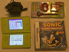 NINTENDO DS LITE DSL NDSL LIME CONSOLE + ULTIMATE SONIC & MARIO GAMES COLLECTION