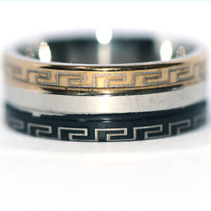 Mens Womens Band Ring Stainless Steel Rings 2-Tone Color Man Jewelry Size 8