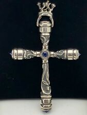 925 Sterling Silver Natural Blue Sapphire Oxidized Royal Crown Cross Pendant