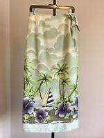 Womens Tommy Bahama Silk Long Wrap Skirt Tropical Palm Tree sz Medium