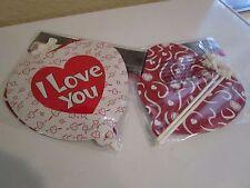 "2 HEART SELF INFLATING FOIL BALLOONS ""I LOVE YOU"" W/ 2 FANCY BOW STICKS 7.3"" NIP"