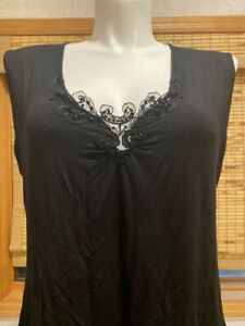 BCBG MaxAzria BLACK Sleeveless Tank Embellished Tunic with Crown décolletage