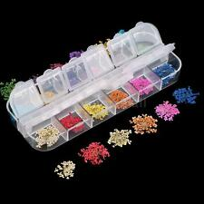 12 Colors Real Nail Dried Flowers Nail Art Decoration Tips & Mini Case N3BK