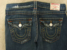 TRUE RELIGION Jeans Joey Low Twisted Flare Distressed Back Flap Frayed 28/32