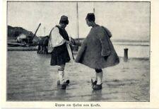 Zum deutschen Kaiserbesuch Korfu: Männer in Nationaltracht von 1908