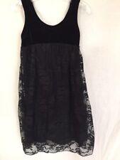 Flowers by Zoe Black Girls Size 7 Dress Velvet Top Lace Bottom Fully Lined