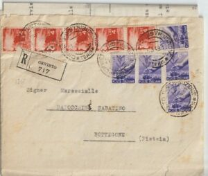 1949 4LX5+6LX5 DEMOCRATICA SU RACCOMANDATA DA ORVIETO X BOTTEGONE PT